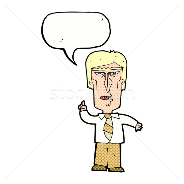 Cartoon knorrig baas tekstballon hand man Stockfoto © lineartestpilot