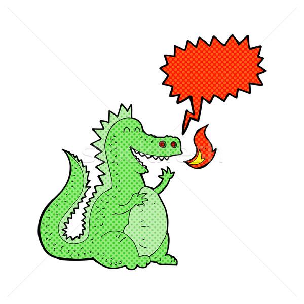 Cartoon fuego respiración dragón bocadillo mano Foto stock © lineartestpilot