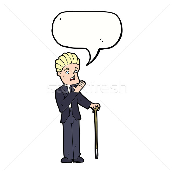 Cartoon geschokt gentleman tekstballon hand man Stockfoto © lineartestpilot