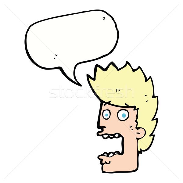 Cartoon испуганный человека речи пузырь стороны лице Сток-фото © lineartestpilot