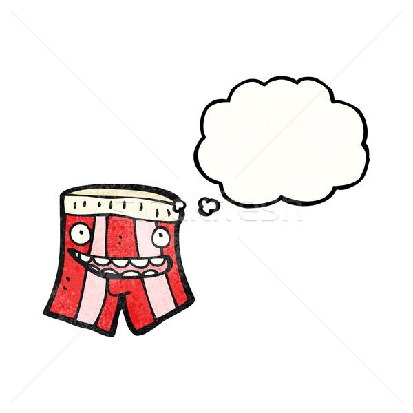 Cartoon bokser szorty tekstury strony twarz Zdjęcia stock © lineartestpilot