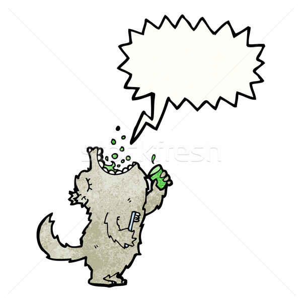 cartoon wolf gargling mouthwash Stock photo © lineartestpilot