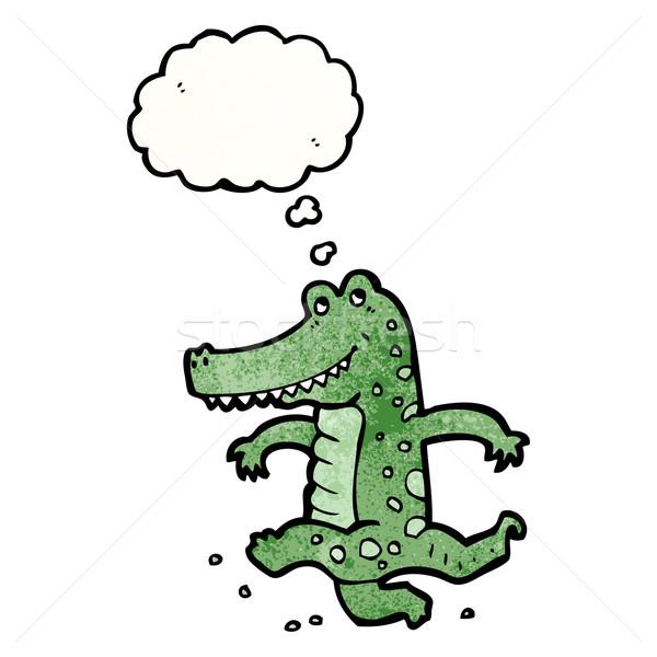 Desenho animado dança crocodilo falante retro pensando Foto stock © lineartestpilot