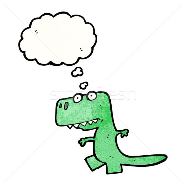 Karikatür Dinozor Retro çizim Fikir Kabarcık Vektör