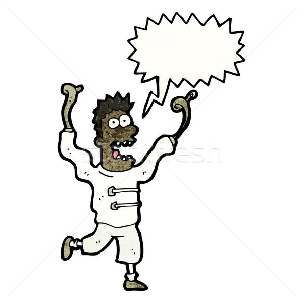 Karikatür çılgın deli adam Retro çizim Stok fotoğraf © lineartestpilot