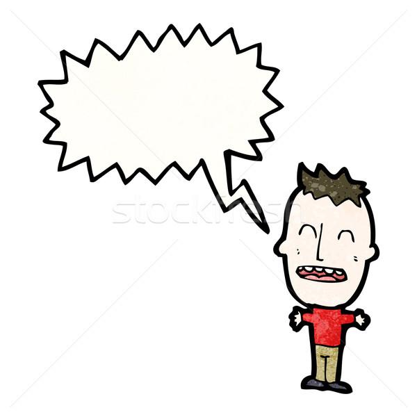 громко мало мальчика Cartoon человека ретро Сток-фото © lineartestpilot
