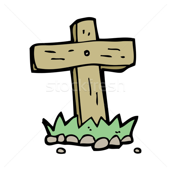 cartoon wooden cross grave Stock photo © lineartestpilot