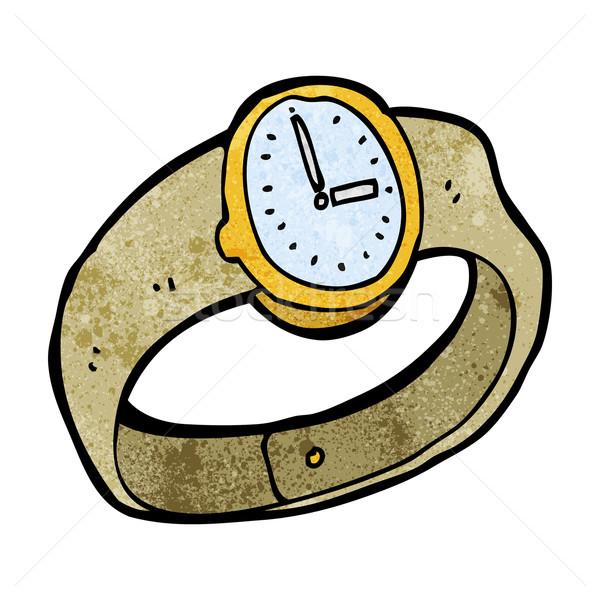 Karikatur Armbanduhr Design Kunst Retro funny Stock foto © lineartestpilot