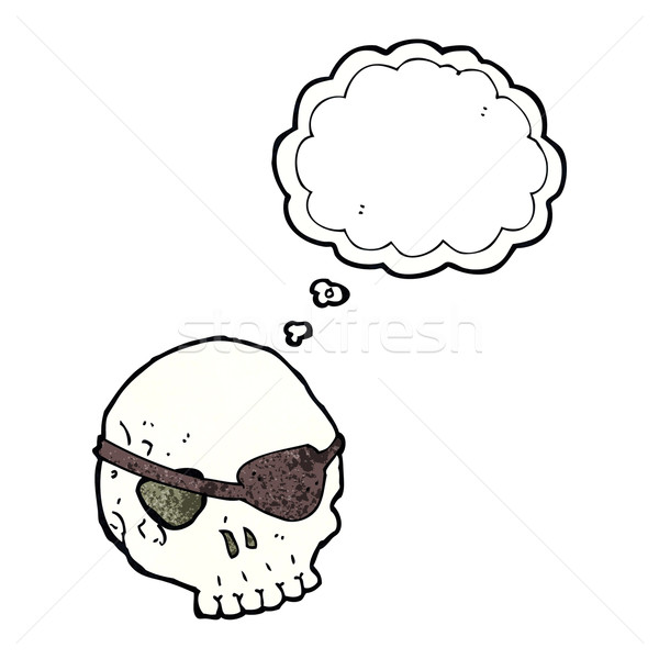 cartoon skull with eye patch with thought bubble Stock photo © lineartestpilot