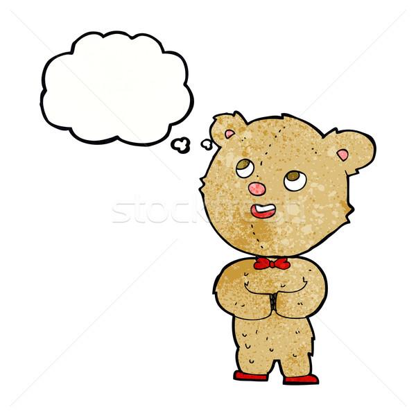 Cartoon Cute мишка мысли пузырь стороны счастливым Сток-фото © lineartestpilot