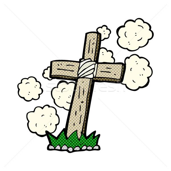 Dessinées cartoon bois croix grave rétro Photo stock © lineartestpilot