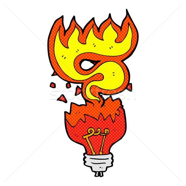 комического Cartoon красный свет лампа ретро Сток-фото © lineartestpilot