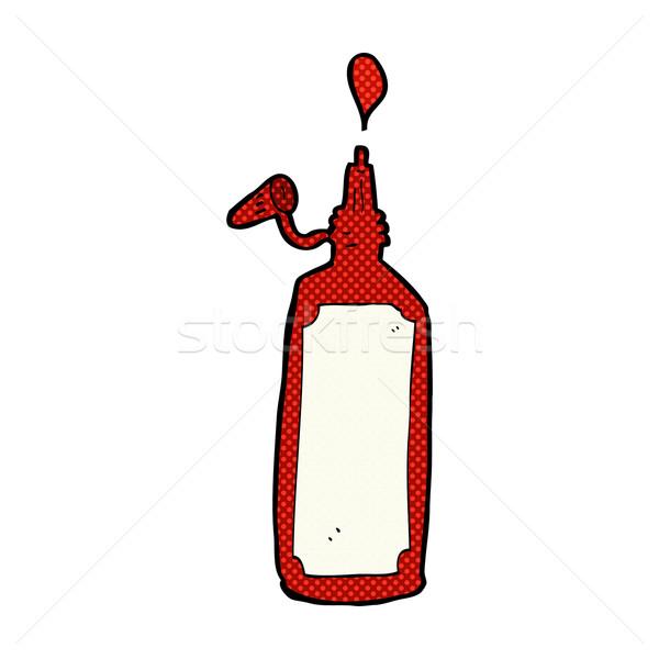 Komische cartoon ketchup fles retro Stockfoto © lineartestpilot