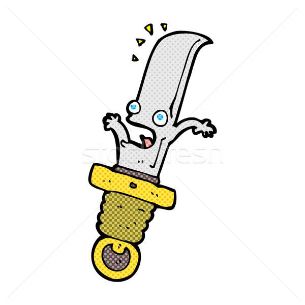 Cómico Cartoon asustado cuchillo retro Foto stock © lineartestpilot