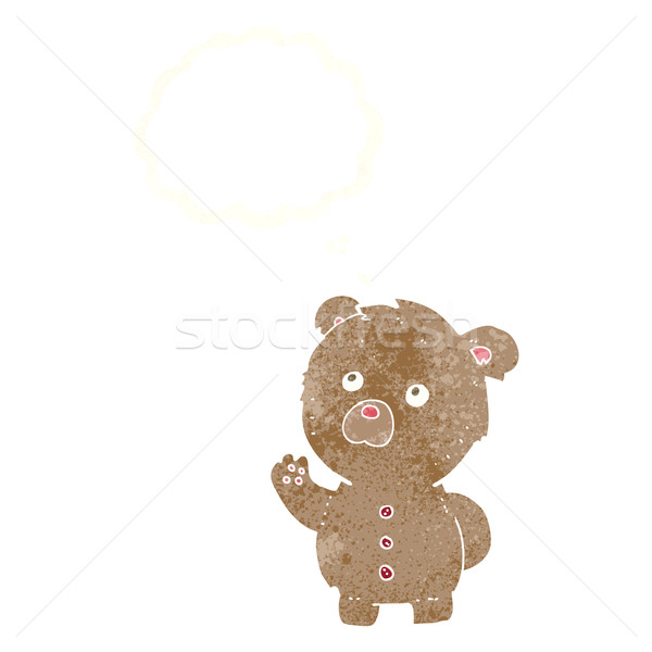 cartoon waving teddy bear with thought bubble Stock photo © lineartestpilot