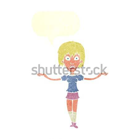 cartoon woman spreading arms with thought bubble Stock photo © lineartestpilot