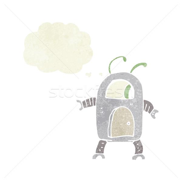 Cartoon straniero robot bolla di pensiero mano design Foto d'archivio © lineartestpilot