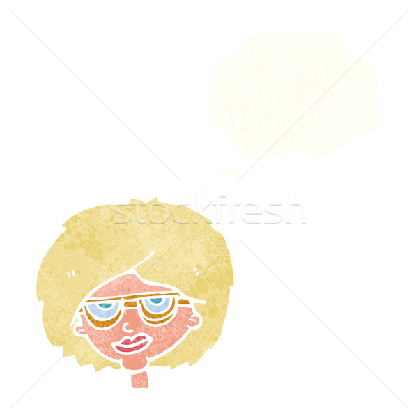 cartoon woman wearing spectacles with thought bubble Stock photo © lineartestpilot