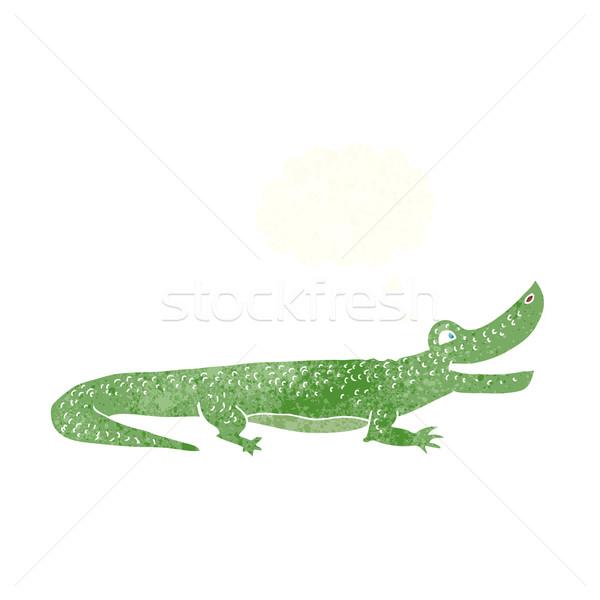 Cartoon gelukkig krokodil gedachte bel hand ontwerp Stockfoto © lineartestpilot