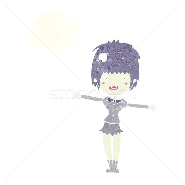 Cartoon счастливым вампир девушки мысли пузырь женщину Сток-фото © lineartestpilot