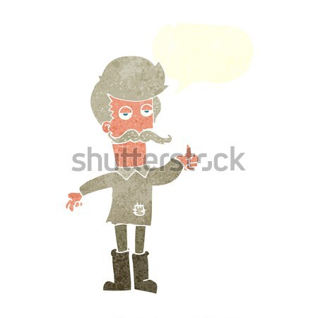 cartoon old man in poor clothes with thought bubble Stock photo © lineartestpilot