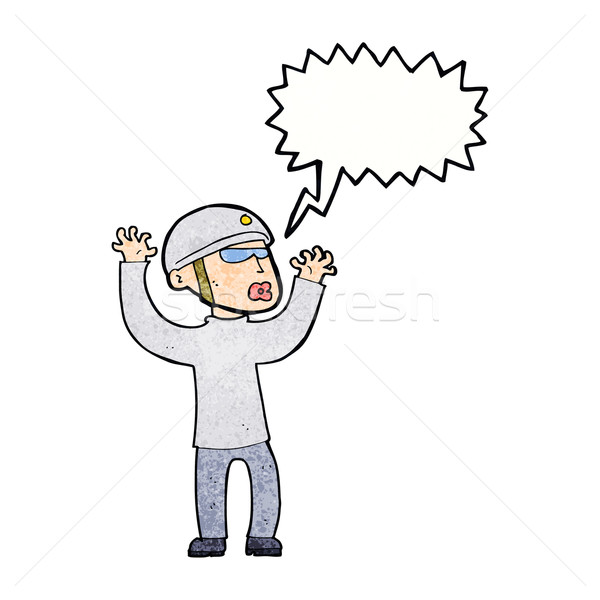 cartoon security man panicking with speech bubble Stock photo © lineartestpilot