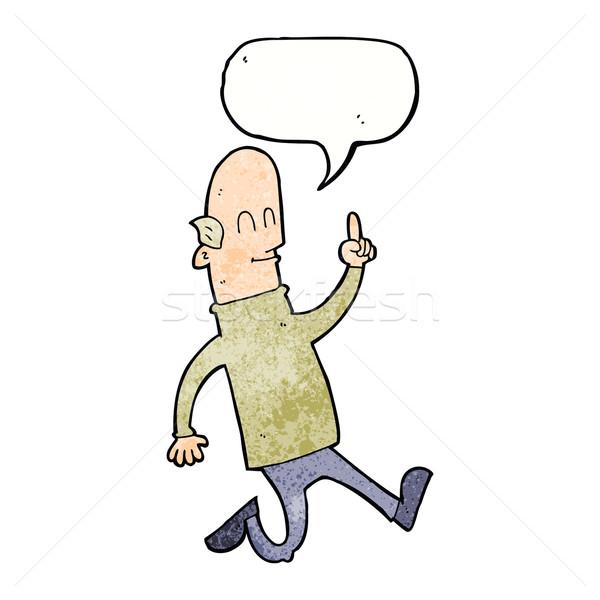 Karikatür kel adam fikir konuşma balonu el Stok fotoğraf © lineartestpilot