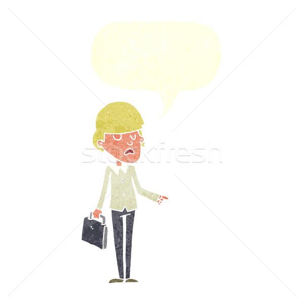 Karikatür kibirli işadamı işaret konuşma balonu iş Stok fotoğraf © lineartestpilot