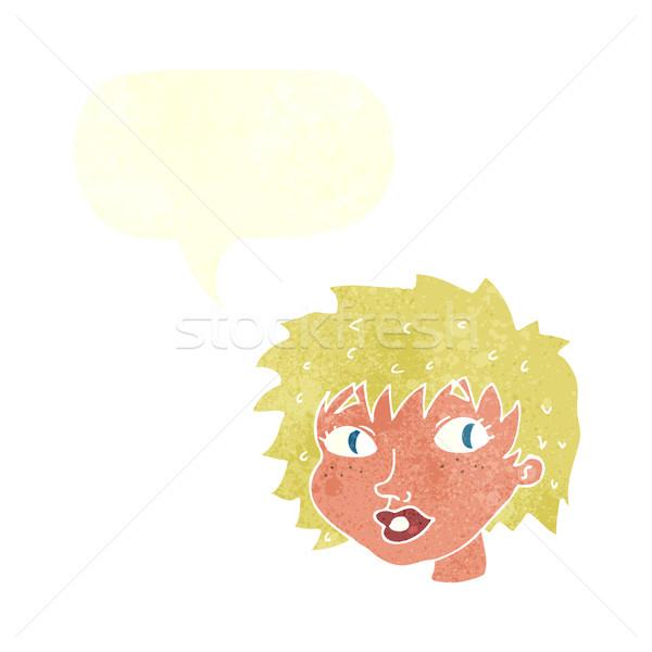 Cartoon sorpreso donna fumetto mano faccia Foto d'archivio © lineartestpilot