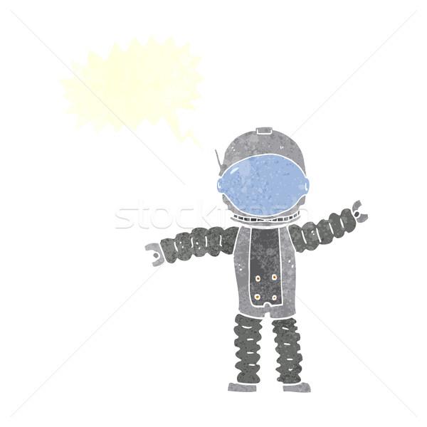 Desenho animado astronauta balão de fala mão projeto louco Foto stock © lineartestpilot
