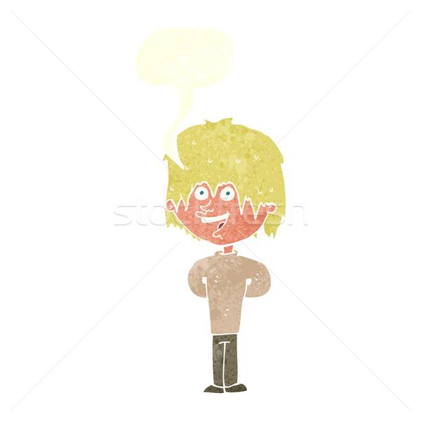 cartoon happy scruffy boy with speech bubble Stock photo © lineartestpilot