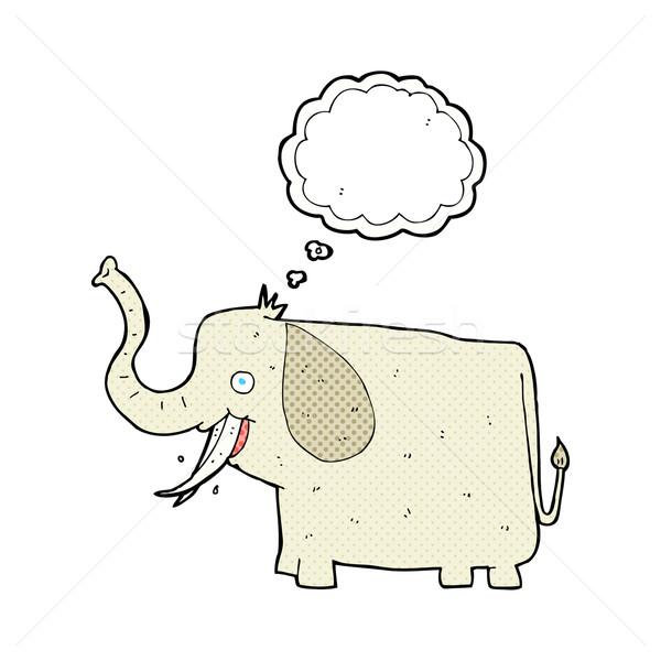 Cartoon счастливым слон мысли пузырь стороны дизайна Сток-фото © lineartestpilot