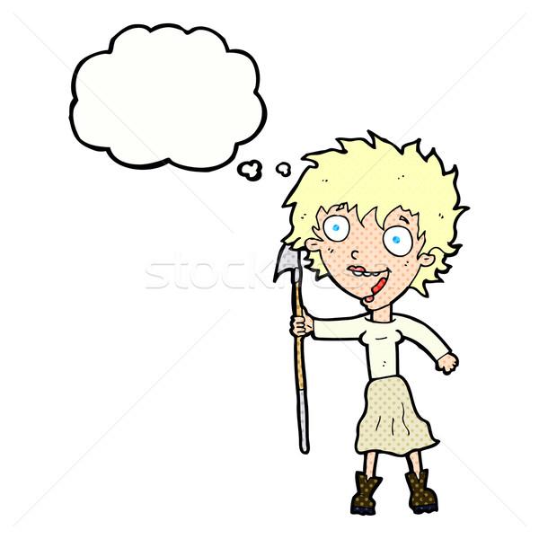 Cartoon Crazy donna fiocina bolla di pensiero mano Foto d'archivio © lineartestpilot