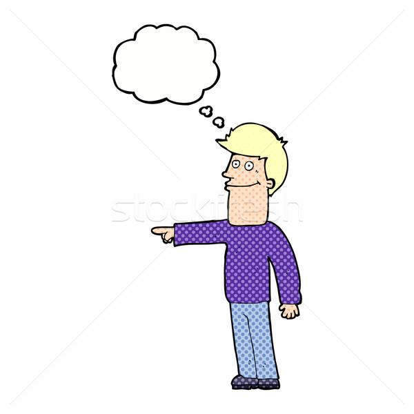 Cartoon man wijzend gedachte bel hand ontwerp Stockfoto © lineartestpilot