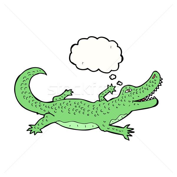 Cartoon крокодила мысли пузырь стороны дизайна искусства Сток-фото © lineartestpilot