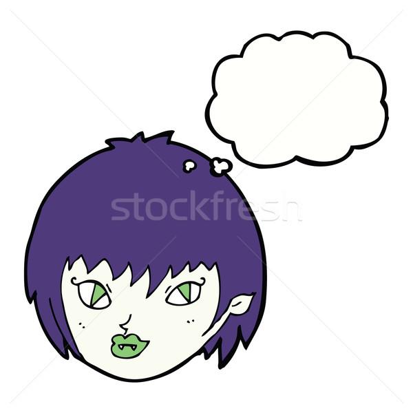 Desenho animado vampiro menina cara balão de pensamento mão Foto stock © lineartestpilot