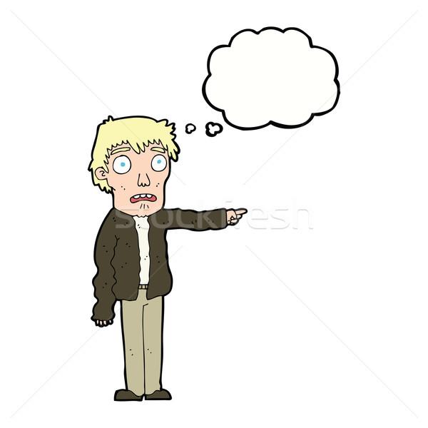 Cartoon испуганный человека указывая мысли пузырь стороны Сток-фото © lineartestpilot
