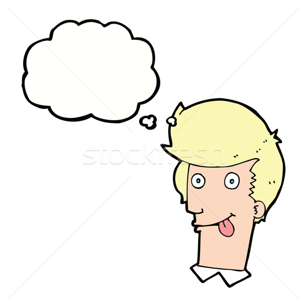 cartoon man with tongue hanging out with thought bubble Stock photo © lineartestpilot