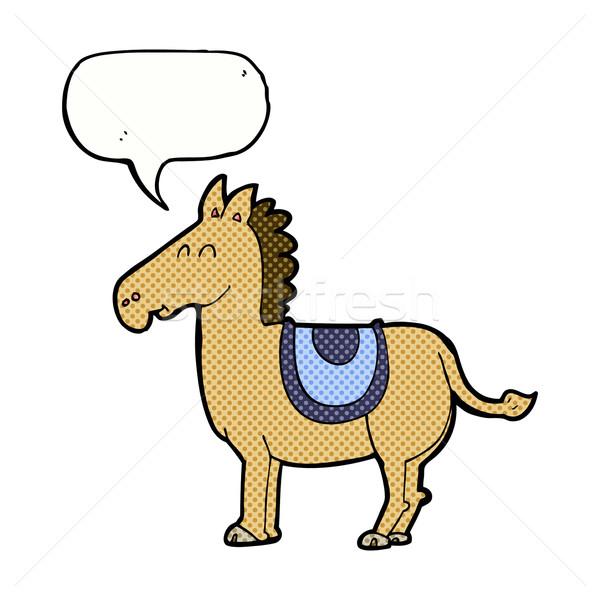 Karikatür eşek konuşma balonu el dizayn hayvanlar Stok fotoğraf © lineartestpilot
