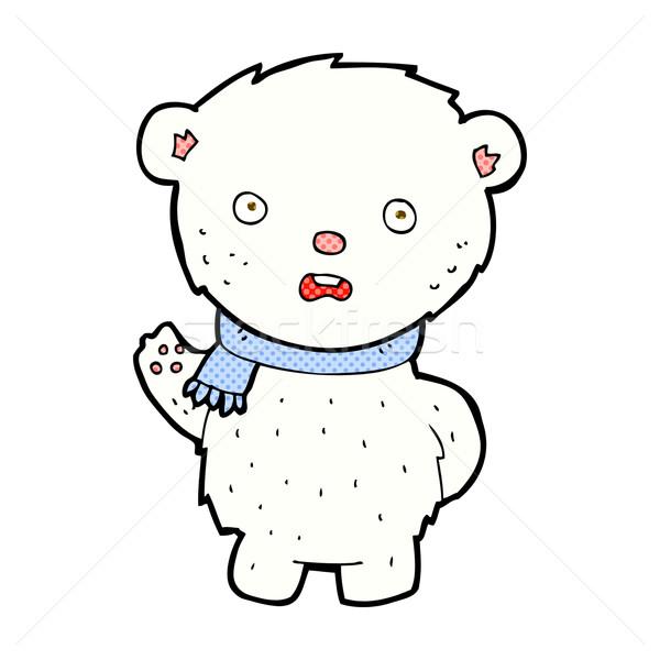 comic cartoon polar bear wearing scarf Stock photo © lineartestpilot