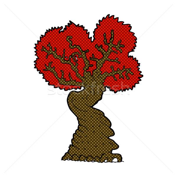 comic cartoon big red old tree Stock photo © lineartestpilot