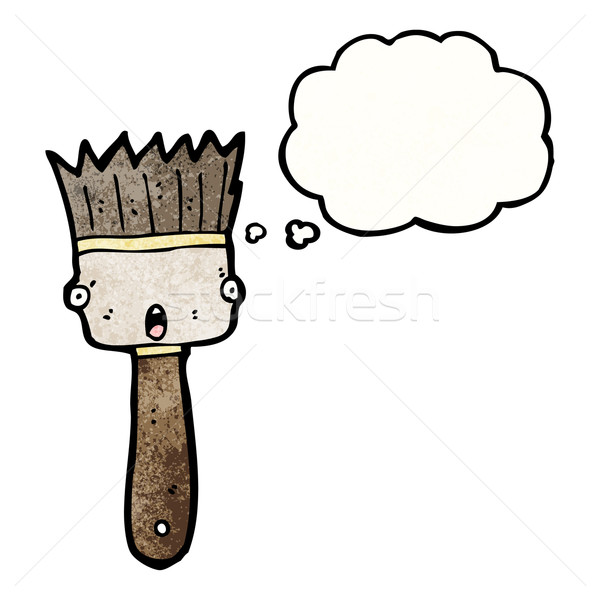 cartoon paint brush with thought bubble Stock photo © lineartestpilot