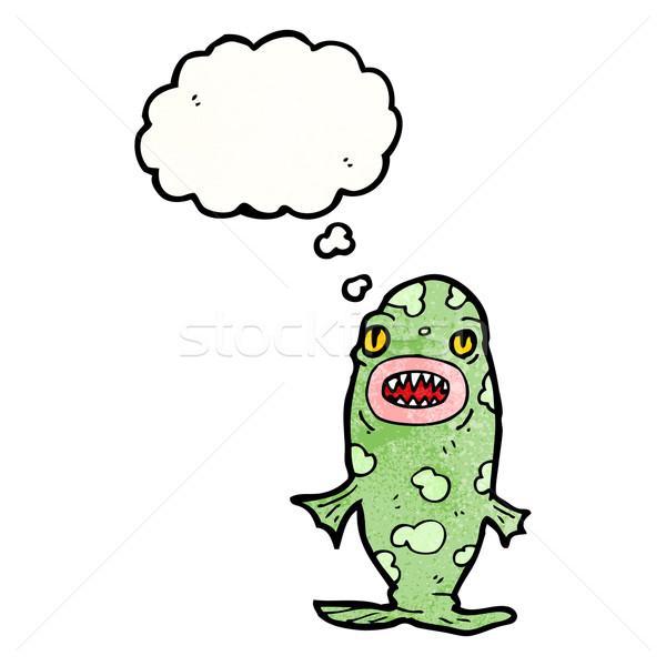 Cartoon монстр рыбы текстуры стороны счастливым Сток-фото © lineartestpilot
