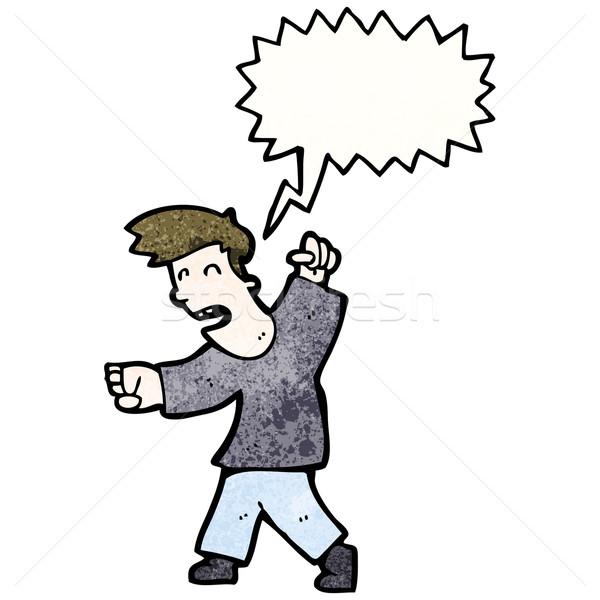 Rajz harcol férfi retro rajz mérges Stock fotó © lineartestpilot
