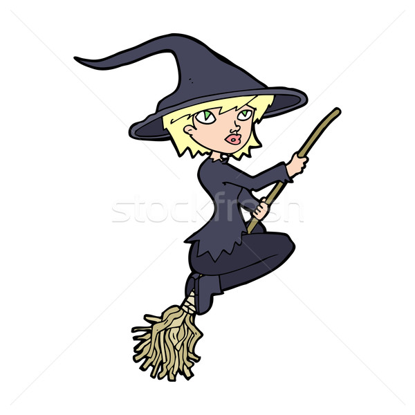 cartoon witch riding broomstick Stock photo © lineartestpilot