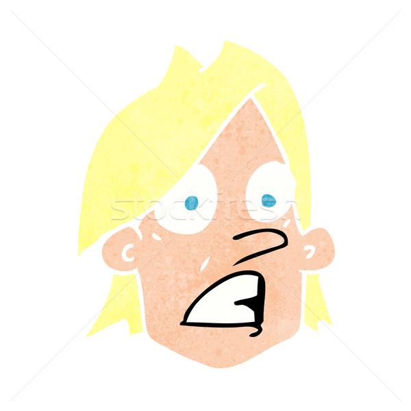 Cartoon испуганный лице стороны дизайна Crazy Сток-фото © lineartestpilot
