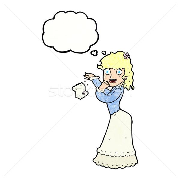 Desenho animado mulher lenço pensamento balão de pensamento mão Foto stock © lineartestpilot