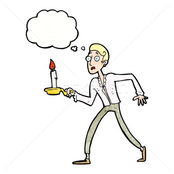 Cartoon испуганный человека ходьбе подсвечник мысли Сток-фото © lineartestpilot