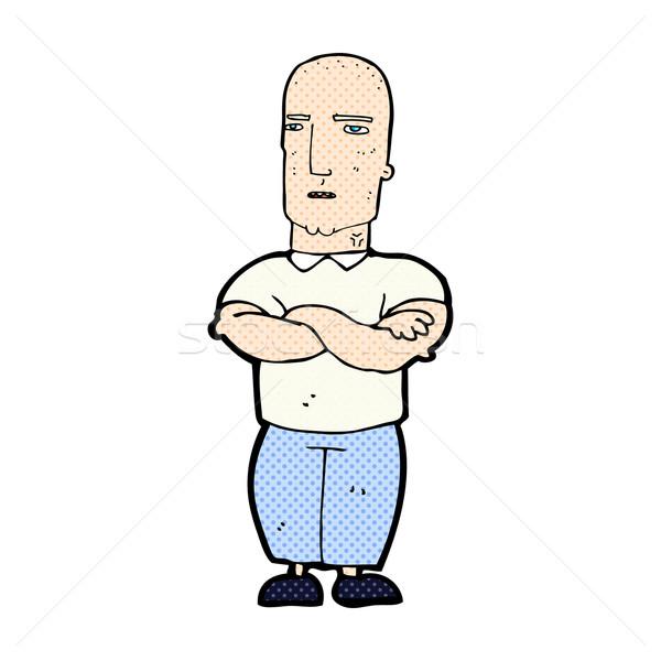 comic cartoon annoyed bald man Stock photo © lineartestpilot