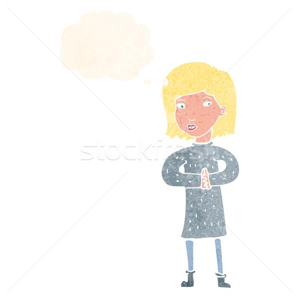 Cartoon vrouw gedachte bel hand ontwerp Stockfoto © lineartestpilot